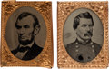 Political:Ferrotypes / Photo Badges (pre-1896), Abraham Lincoln and George McClellan: Gem Ferrotypes.... (Total: 2Items)