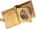 Political:Ferrotypes / Photo Badges (pre-1896), Abraham Lincoln: Brass Photo Album Locket....