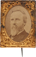 Political:Ferrotypes / Photo Badges (pre-1896), Rutherford B. Hayes: Gem Albumen Stickpin. ...