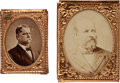 Political:Ferrotypes / Photo Badges (pre-1896), James Garfield and Winfield Scott Hancock: Gem Albumen Badges....(Total: 2 Items)