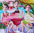 Fine Art - Painting, American:Contemporary   (1950 to present)  , Julia Briggs. Cocktail Ladies. Acrylic on canvas. 36 x 36inches (91.4 x 91.4 cm). ...