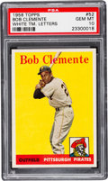 Baseball Cards:Singles (1950-1959), 1958 Topps Bob Clemente, White Letters #52 PSA Gem Mint 10 - TheFinest Example Known to the Hobby! ...