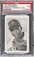 Baseball Cards:Singles (1940-1949), 1947 Bond Bread Jackie Robinson/Portrait-Facsimile Autograph PSA NM7 - Pop Ten, Six Higher.. ...