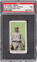 "Baseball Cards:Singles (Pre-1930), 1910 E98 ""Set of 30"" Cy Young - Green ""Black Swamp Find"" PSA NM 7...."