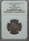 Coins of Hawaii, 1883 25C Hawaii Quarter AU55 NGC. Ex: Hilt Collection. NGC Census:(68/1032). PCGS Population (124/1322). Mintage: 500,000....