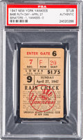Baseball Collectibles:Tickets, 1947 Babe Ruth Day Ticket Stub, PSA Authentic. ...