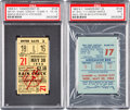 Baseball Collectibles:Tickets, 1956-63 Mickey Mantle Longest Home Run Ticket Stub and YankeeStadium Facade Ticket Stub Lot of 2....