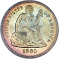Seated Dimes, 1860 10C MS67 PCGS. CAC. Fortin-102....