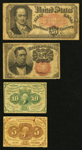 Fractional Currency:First Issue, First and Fifth Issue Fractionals Very Good or Better.. ... (Total: 4 notes)