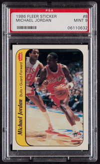 1986 Fleer Sticker Michael Jordan #8 PSA Mint 9