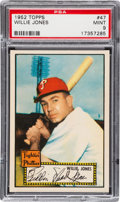 Baseball Cards:Singles (1950-1959), 1952 Topps Willie Jones/Red Back #47 PSA Mint 9 - Pop 1-of-1 With None Higher! ...