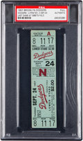 Baseball Collectibles:Tickets, 1957 Brooklyn Dodgers Final Game at Ebbets Field Full Ticket, PSAAuthentic. ...