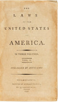 Books:Americana & American History, [Americana.] The Laws of the United States of America.Philadelphia: Printed by Richard Folwell, 1796. Volume II...