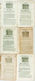 Books:Americana & American History, [American History]. Group of Six Documents of Laws Related to theMassachusetts-Bay Colony. Mid-eighteenth century acts and ...