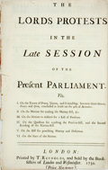 Books:World History, [England.] The Lords Protests in the Late Session of the Present Parliament. Viz. I. On the Treaty of Peace, Union, and ...