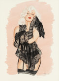 Pin-up and Glamour Art, OLIVIA DE BERARDINIS (American, b. 1948). Black Lace Lady,probable pin-up for Playboy, 1989. Watecolor on board. 19.5x...