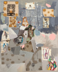 GEORGE CONDO (American, b. 1957) New Yorkers of the 19th Century, 2001 Oil and mixed media collage o