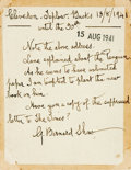 Autographs:Authors, George Bernard Shaw Autograph Note Signed. Note is to thepublishers R. & R. Clark. Dated August 13, 1941. A bit soiledand ...