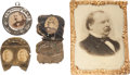 Political:Ferrotypes / Photo Badges (pre-1896), Grover Cleveland and James G. Blaine: Assorted Badges, Etc....(Total: 4 Items)
