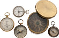 Miscellaneous:Ephemera, 19th Century Brass Compasses and Barometer....