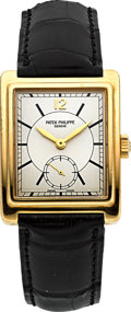 Timepieces:Wristwatch, Patek Philippe Ref. 5010J Gent's Gold Rectangular Wristwatch, circa 2001. ...
