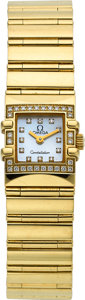 Timepieces:Wristwatch, Omega Lady's Gold Constellation With Diamonds. ...