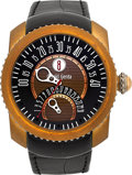 Timepieces:Wristwatch, Gerald Genta Gefica Safari Bronze & Titanium Bi-Retrograde Jump Hour . ...