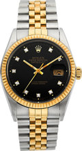 Timepieces:Wristwatch, Rolex Ref. 16033 Gent's Diamond Dial Oyster Perpetual Datejust, circa 1987. ...