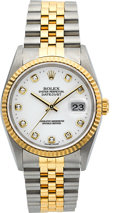Timepieces:Wristwatch, Rolex Ref. 162333 Gent's Two Tone Oyster Perpetual Datejust, White Serti Diamond Dial. ...