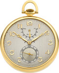 Timepieces:Pocket (post 1900), LeCoultre, Le Sentier Very Rare 18k Gold Eight-Day Watch With Power Reserve Indication Made For Cresarrow W. Co., circa 1930 ...