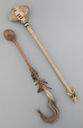American Indian Art:Pipes, Tools, and Weapons, TWO PLAINS STONEHEAD CLUBS... (Total: 2 Items)