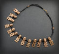 Pre-Columbian:Metal/Gold, SAN AUGUSTIN NECKLACE WITH THIRTEEN ABSTRACT HUMAN FIGURES...