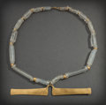 Pre-Columbian:Metal/Gold, COLOMBIAN NECKLACE OF ROCK CRYSTAL BEADS WITH GOLD NOSE RINGPENDANT...
