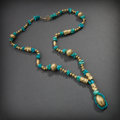 Pre-Columbian:Metal/Gold, CHIMU NECKLACE OF TURQUOISE AND GOLD BEADS ...