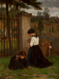 Fine Art - Painting, European:Antique  (Pre 1900), THÉOPHILE EMMANUEL DUVERGER (French, 1821-1921). Mother andDaughter, in Remembrance. Oil on panel. 12-3/4 x 9-1/2 inche...