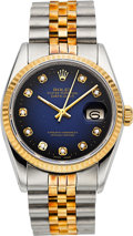 Timepieces:Wristwatch, Rolex Ref. 16013 Gent's Two Tone Diamond Dial Oyster PerpetualDatejust, circa 1978. ...