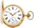 Timepieces:Pocket (pre 1900) , Longines Fine Gold Minute Repeating Hunters Case, circa 1885. ...