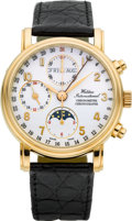 Timepieces:Wristwatch, Waldan International Rose Gold Chronometer Chronograph TripleCalendar Moonphase. ...