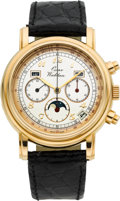 Timepieces:Wristwatch, Oscar Waldan (Zenith 3019) Rare 18k Gold Automatic ChronographTriple Calendar Moonphase. ...
