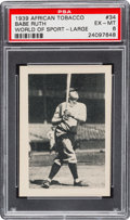 Baseball Cards:Singles (1930-1939), 1939 African Tobacco Babe Ruth -Large #34 PSA EX-MT 6....