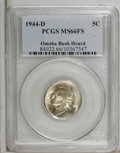 Jefferson Nickels, 1944-D 5C MS66 Full Steps PCGS. Ex: Omaha Bank Hoard. PCGS Population (1357/209). NGC Census: (150/79). (#84023)...