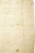 Autographs:Statesmen, American Revolution on the Pennsylvania Frontier - Daniel ReesAutograph Letter Signed....