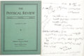Autographs:Inventors, Physicist Richard P. Feynman Autograph Manuscript Signed Twice,...
