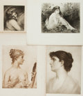 Books:Prints & Leaves, [Portraiture.] Group of Four Black and White Lithographs of Women.Various publishers and dates....