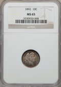 Barber Dimes: , 1892 10C MS65 NGC. NGC Census: (139/90). PCGS Population (139/93). Mintage: 12,121,245. Numismedia Wsl. Price for problem f...