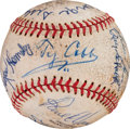 Baseball Collectibles:Balls, Circa 1960 Hall of Famers Multi-Signed Baseball with Ty Cobb....