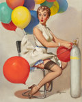 Pin-up and Glamour Art, GIL ELVGREN (American, 1914-1980). Taking Off, Brown &Bigelow calendar illustration, 1955. Oil on canvas. 30 x 24in.. ...
