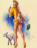 Pin-up and Glamour Art, EARL MORAN (American, 1893-1984). Blonde Dressed in Yellow withher Sheep, 1948. Oil on board. 18 x 14 in. (sheet). Sign...