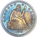 Seated Quarters, 1849 25C MS65 NGC. Briggs 1-A....