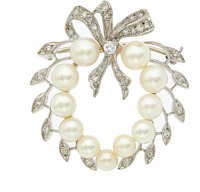 Cultured Pearl, Diamond, White Gold Brooch